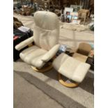 A STRESSLESS CHAIR AND STOOL