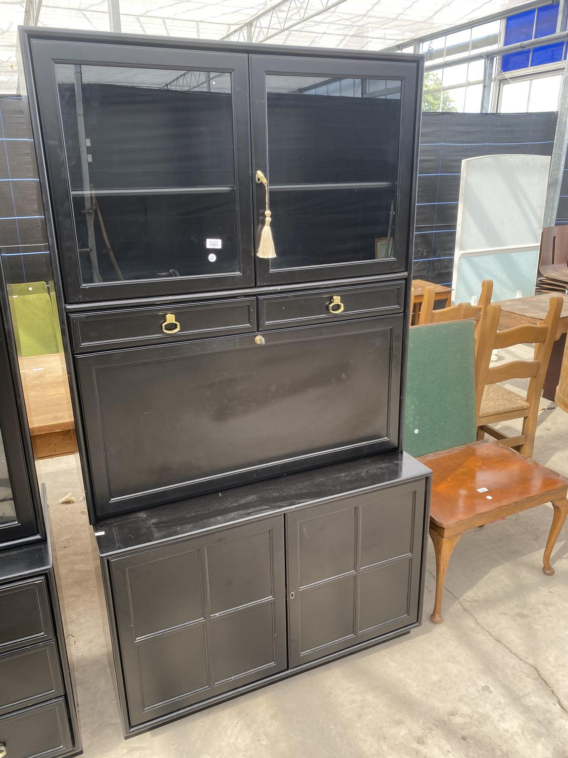 """TWO MODERN BLACK LOUNGE UNITS, EACH 39"""" WIDE - Image 2 of 6"""