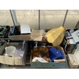 AN ASSORTMENT OF HOUSEHOLD CLEARANCE ITEMS TO INCLUDE CERAMIC WARE, LAMPSHADES AND RECORDS ETC