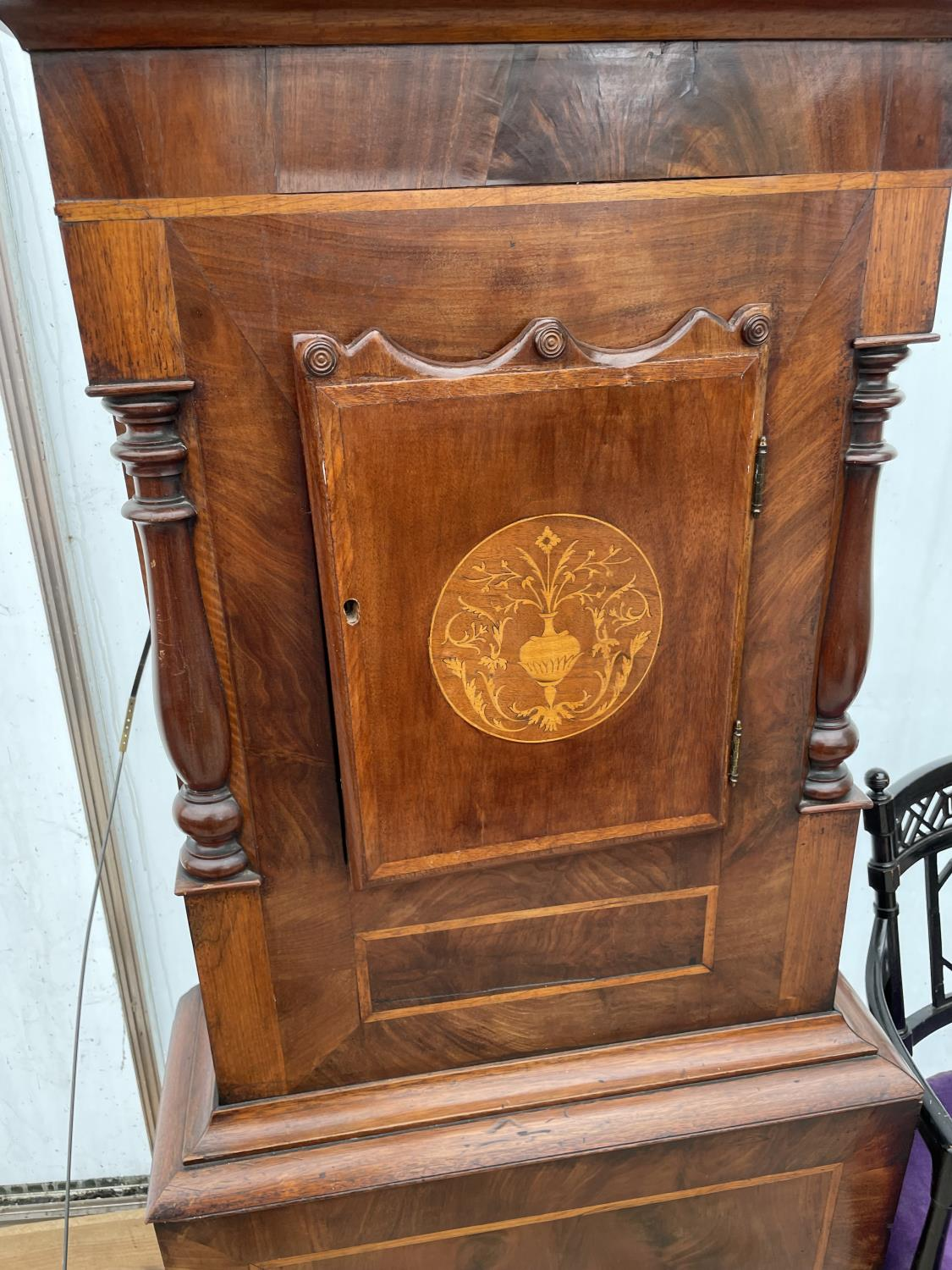 A 19TH CENTURY AND LATER EIGHT DAY MAHOGANY AND INLAID LONGCASE CLOCK WITH ENAMEL DIAL (GROUNDS, - Image 5 of 8