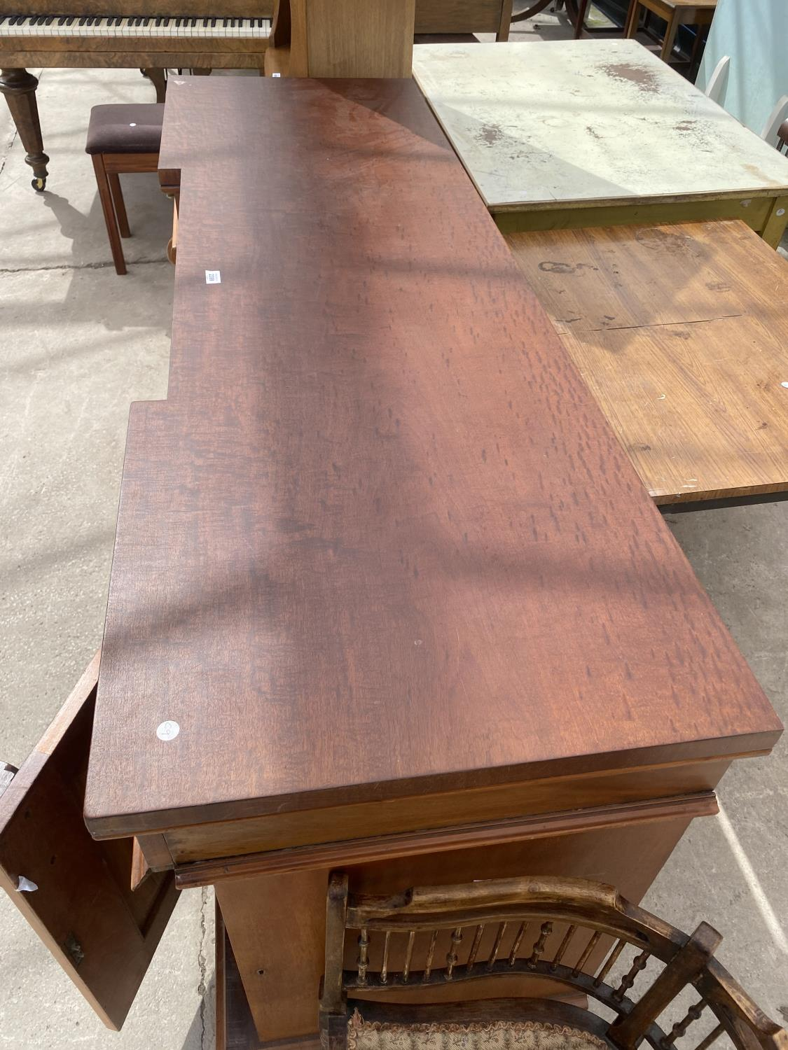 """A VICTORIAN INVERTED BREAKFRONT MAHOGANY DOUBLE PEDESTAL SIDEBOARD, 72"""" WIDE - Image 4 of 5"""