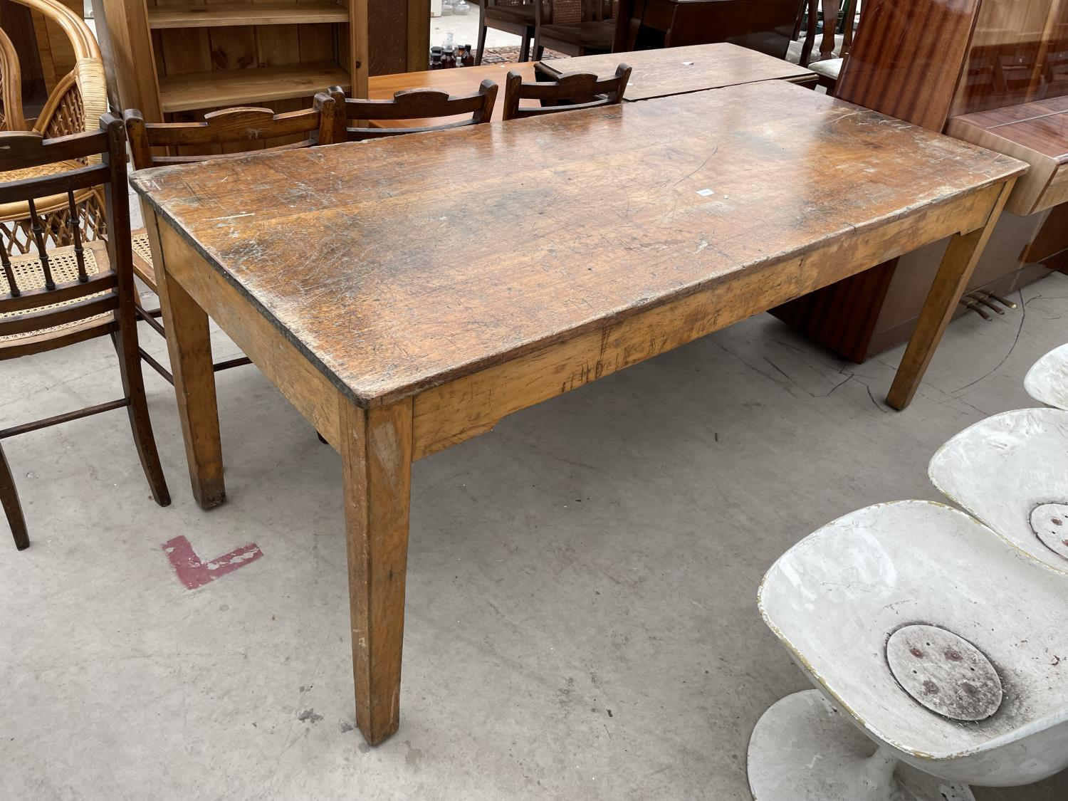 """A MID 20TH CENTURY SCHOOL/FUNCTION TABLE, 72X30"""", STAMPED J.R. TAYLOR, WIGAN (L.C.C.B.P.)"""