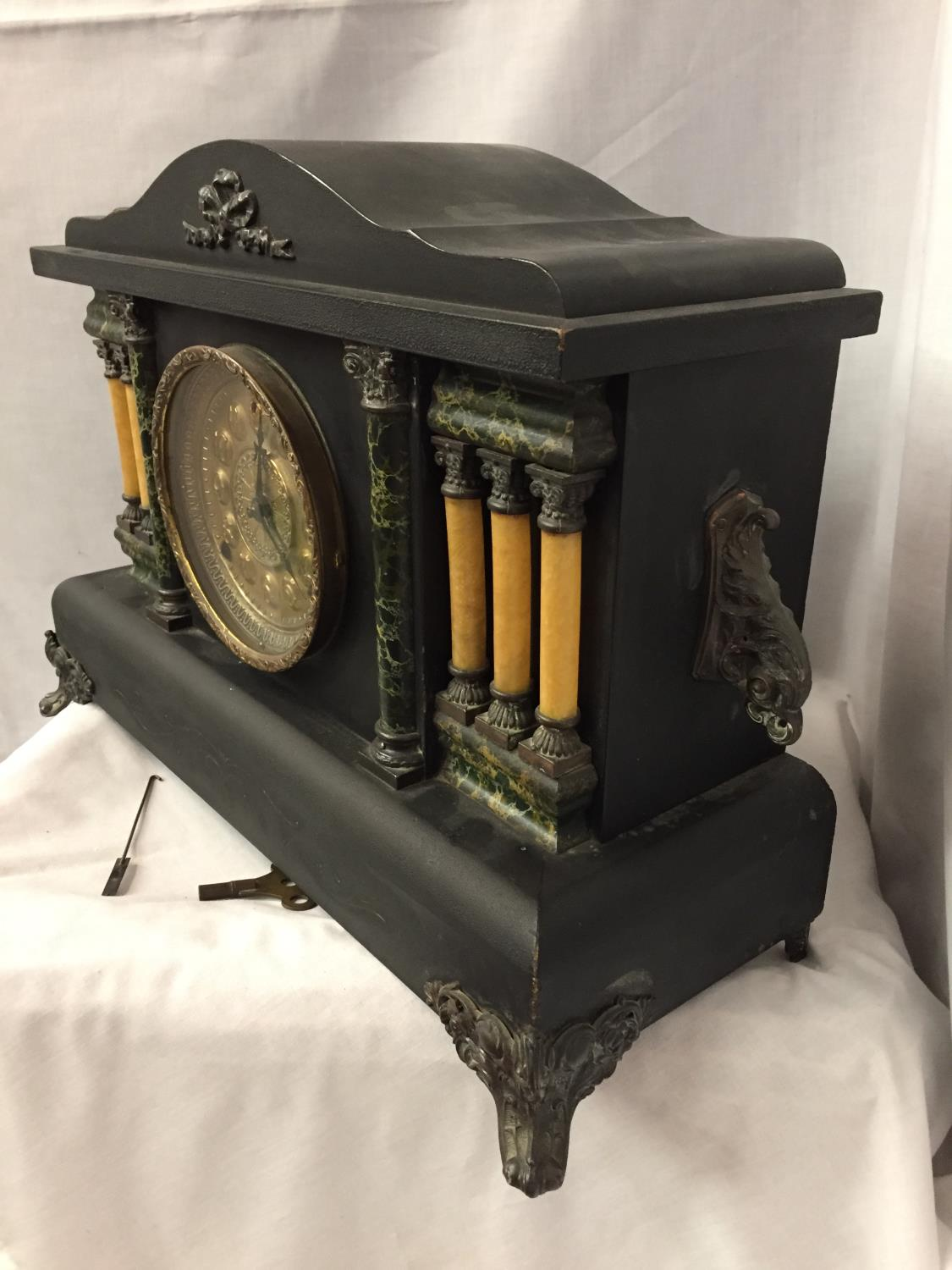 A VICTORIAN EIGHT DAY CATHEDRAL GONG EBONISED MANTEL CLOCK BY THE SESSIONS CLOCK CO. - Image 3 of 6