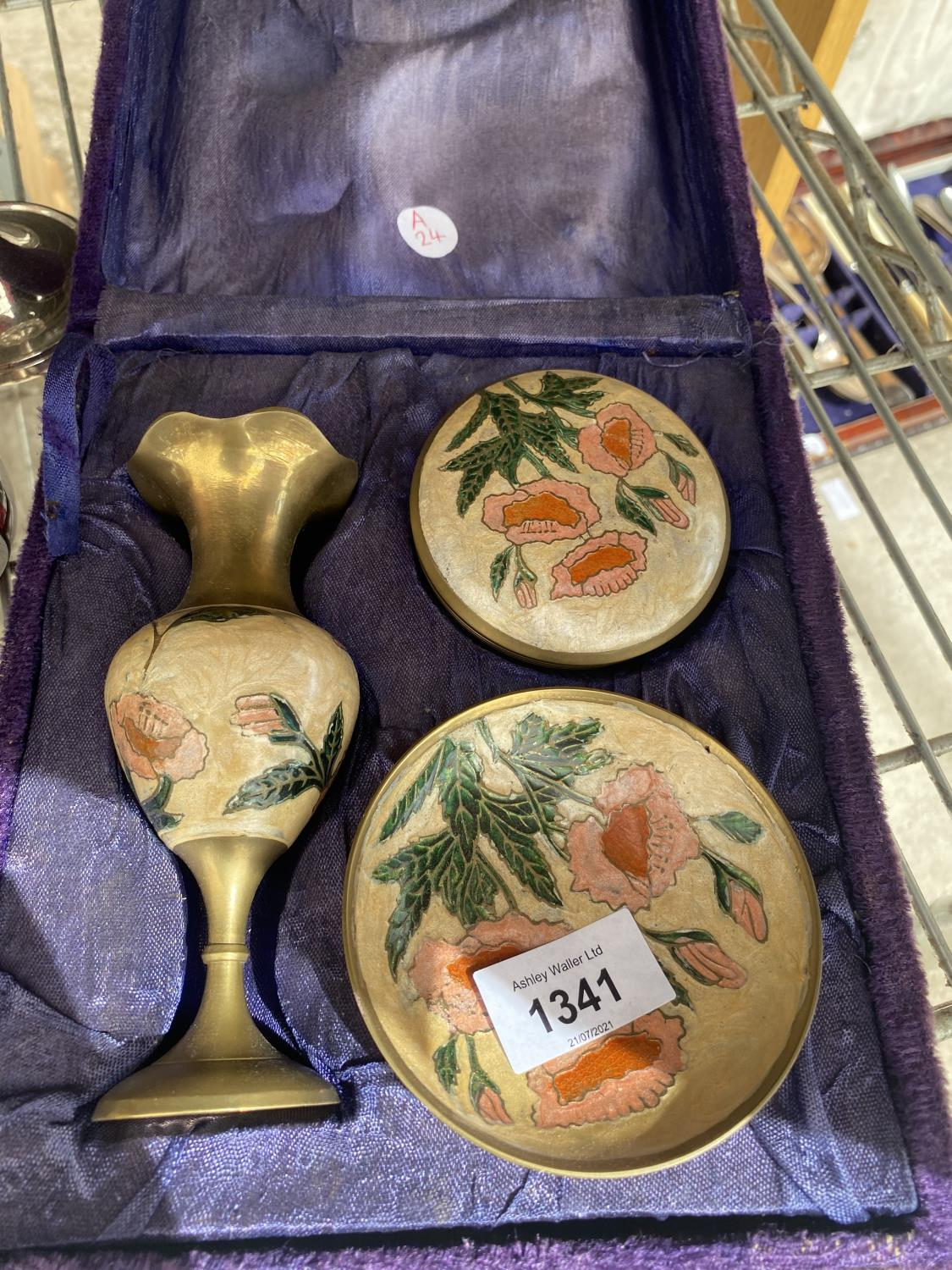 A BOXED BRASS VASE, TRINKET DISH AND TRINKET BOWL, WITH A SUGAR SHAKER AND A CANDLE HOLDER - Image 2 of 5