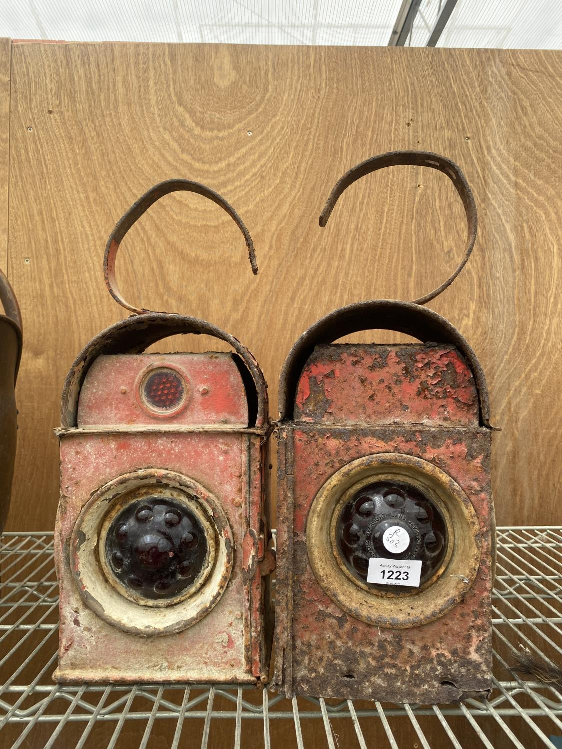 A PAIR OF VINTAGE ROAD LAMPS