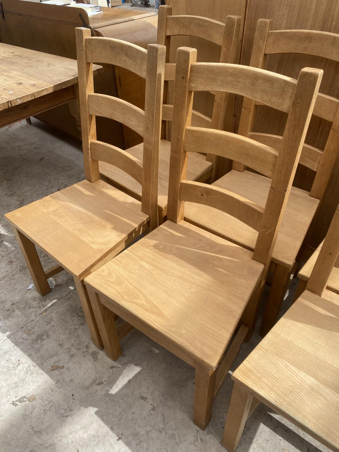 A SET OF SIX PINE LADDER-BACK DINING CHAIRS - Image 3 of 5