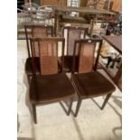 FOUR G PLAN RETRO MAHOGANY DINING CHAIRS WITH RATTAN BACKS