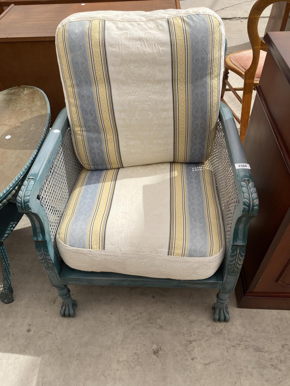 A PAIR OF EARLY 20TH CENTURY BERGERE FIRESIDE CHAIRS ON CLAW FEET, HAVING SHABBY CHIC PAINTING, - Image 2 of 6