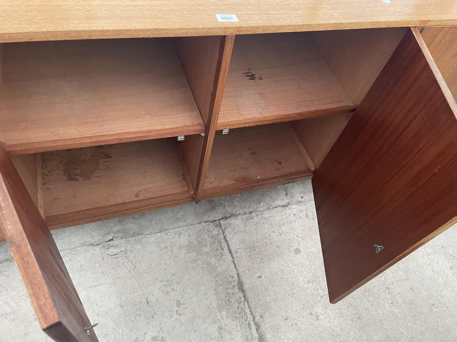 """A RETRO TEAK SIDEBOARD WITH FOUR PUSH RELEASE DOORS, 72"""" WIDE - Image 8 of 8"""