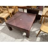 """A LEATHER TOPPED TABLE, 36"""" SQUARE"""