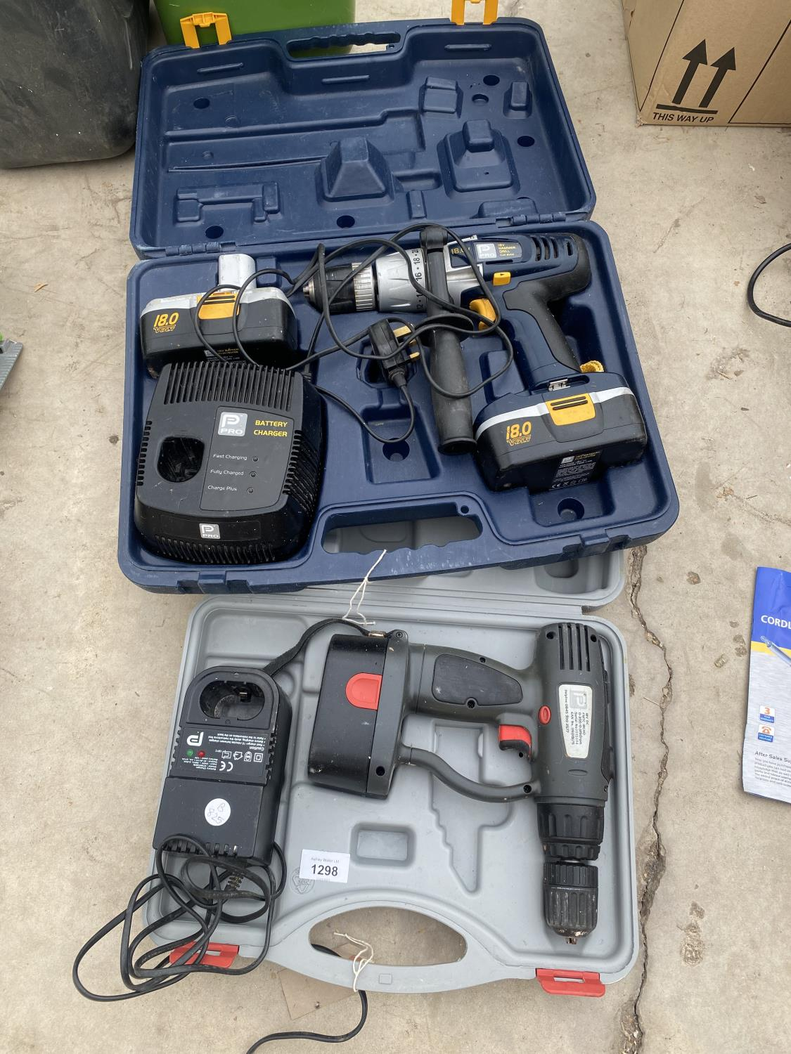 A PRO BATTERY DRILL AND A FURTHER BATTERY DRILL