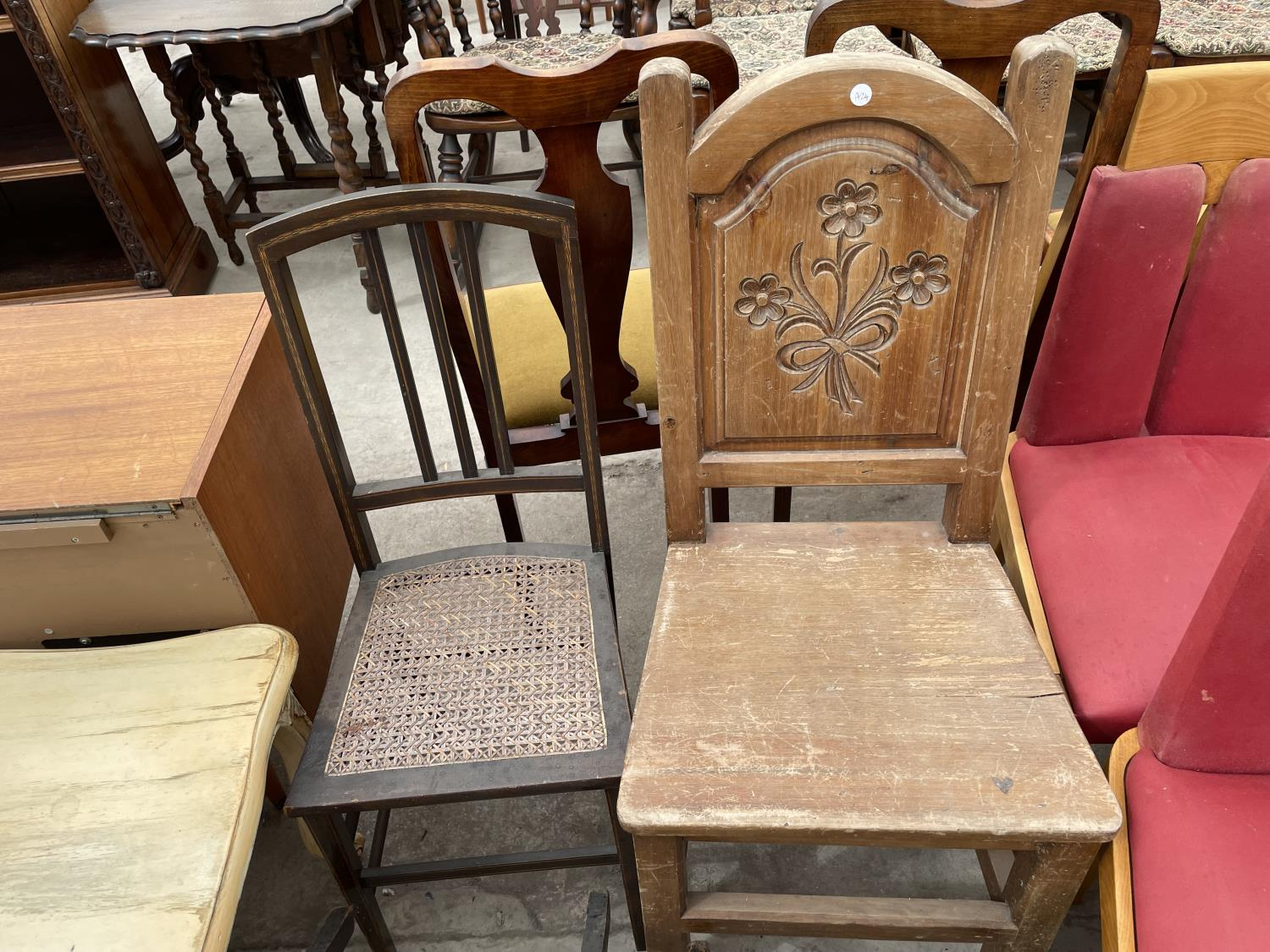 THREE VARIOUS BEDROOM CHAIRS AND CARVED BEECH HALL CHAIR - Image 4 of 4