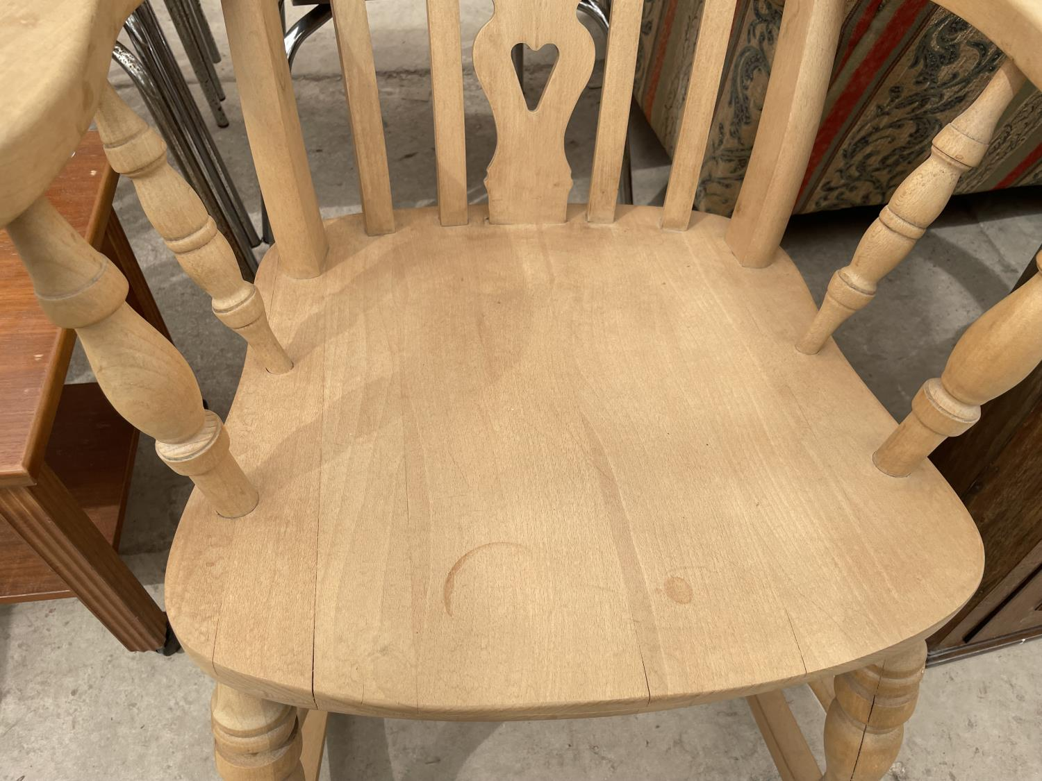 A VICTORIAN STYLE FARMHOUSE ROCKING CHAIR - Image 3 of 4