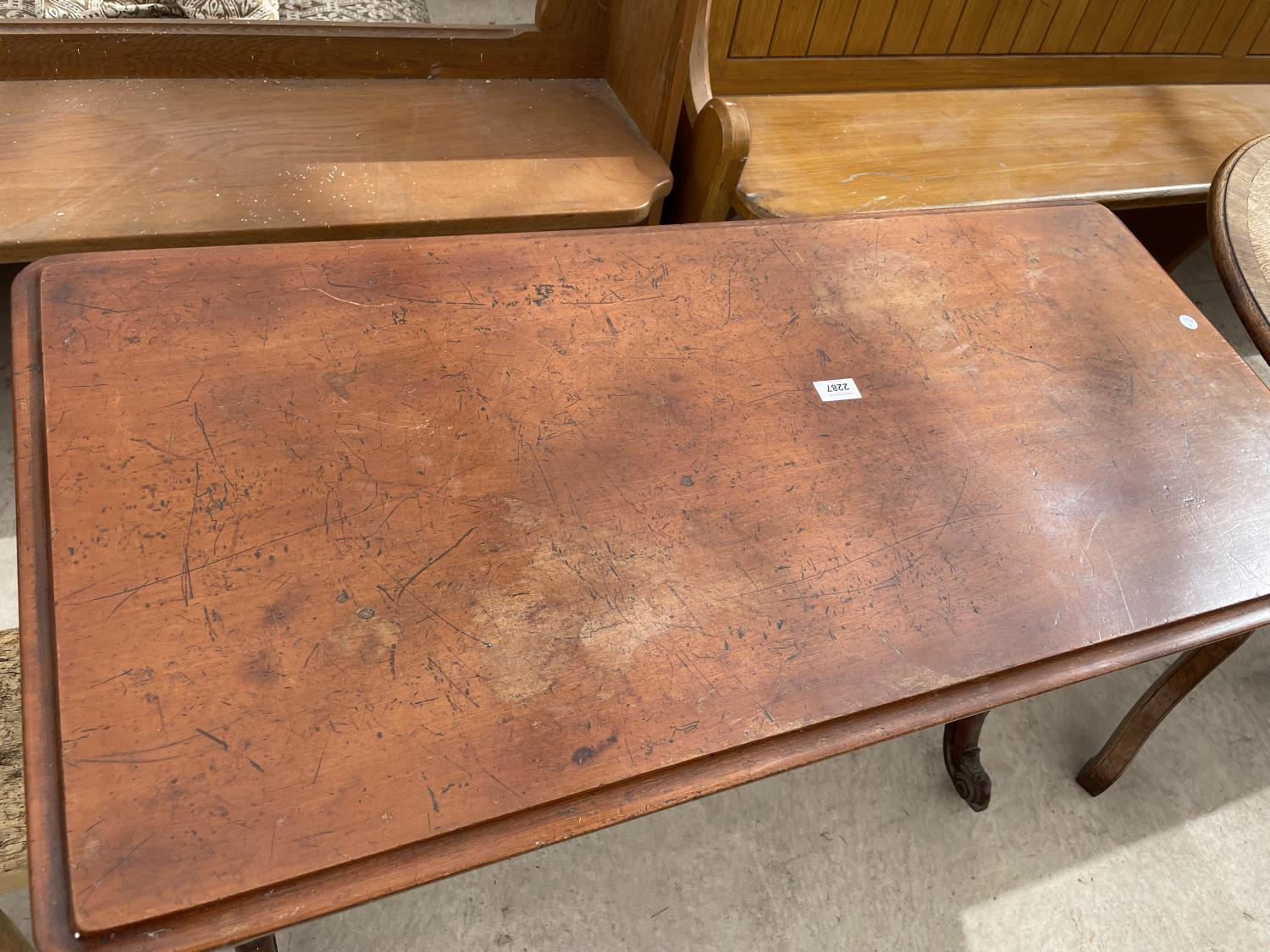 """A VICTORIAN MAHOGANY CENTRE TABLE, 20X42"""", ON TURNED LEGS AND STRETCHER - Image 2 of 6"""