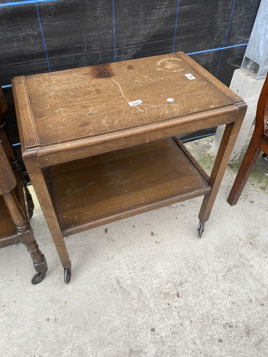 AN OAK 'FLEET FURNITURE' TROLLEY AND ONE OTHER - Image 2 of 4