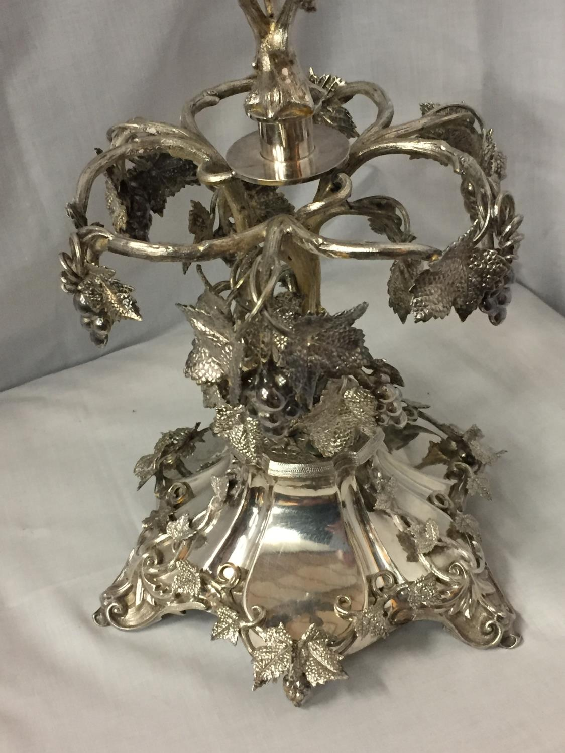 AN ORNATE SILVER PLATED EPERGENE WITH GLASS FLUTE HEIGHT 65CM - Image 3 of 5
