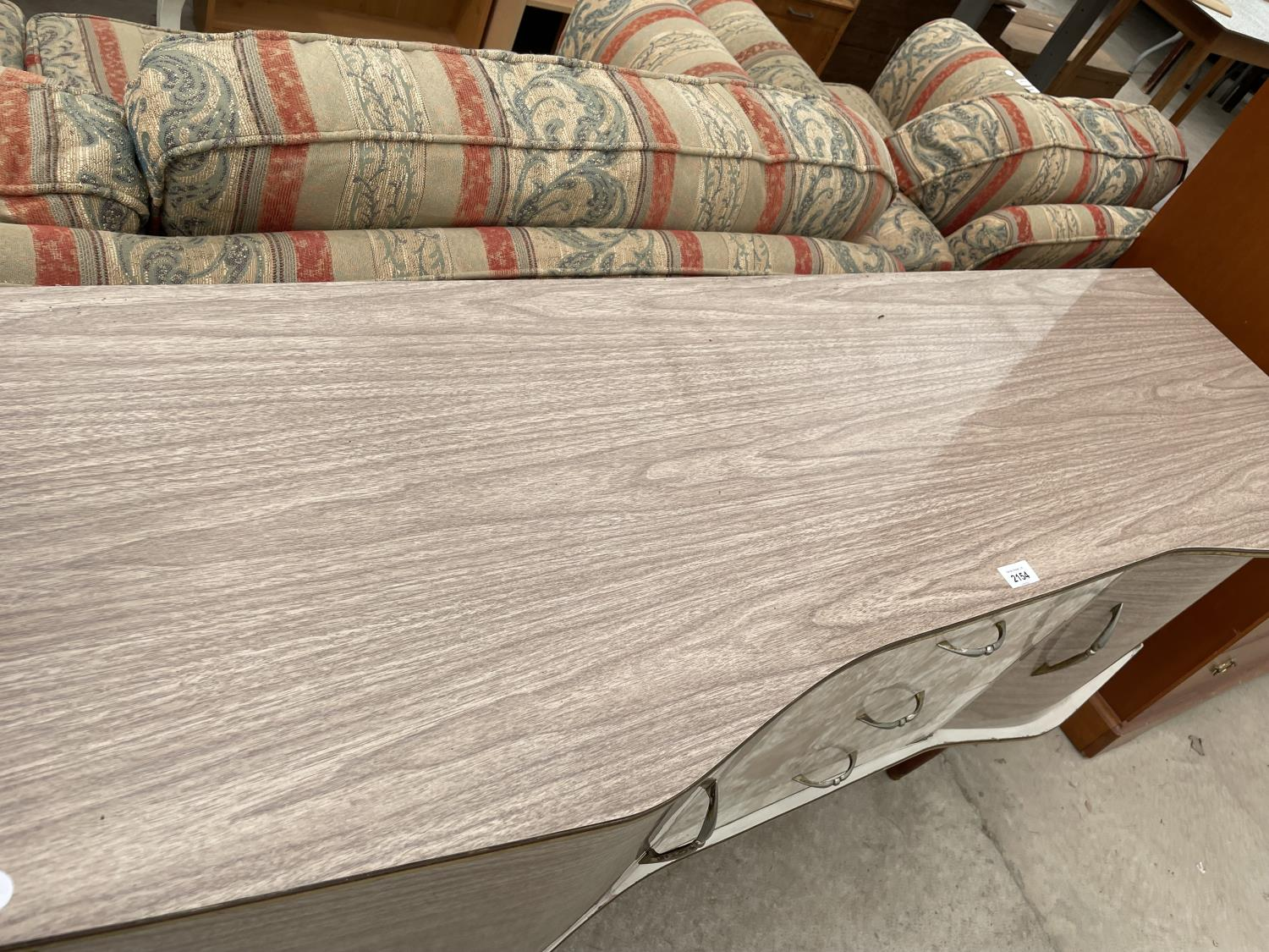 """A MID 20TH CENTURY CREAMY WANUT EFFECT SIDEBOARD, 60"""" WIDE - Image 2 of 5"""