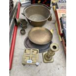 AN ASSORTMENT OF BRASS WARE TO INCLUDE A JAM PAN, TRIVET STAND AND CANDLE STICK ETC