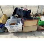 AN ASSORTMENT OF HOUSEHOLD CLEARANCE ITEMS TO INCLUDE DVDS, TRAVEL CASES AND HARDWARE ETC