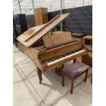 A COLLARD & COLLARD WALNUT METAL SEMI-GRAND PIANO, COMPLETE WITH STOOL