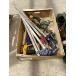 AN ASSORTMENT OF TOOLS TO INCLUDE SASH CLAMPS, G CLAMPS AND LATHE TOOLS