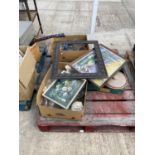 AN ASSORTMENT OF HOUSEHOLD CLEARANCE ITEMS TO INCLUDE PICTURES, PRINTS AND GLASS WARE ETC