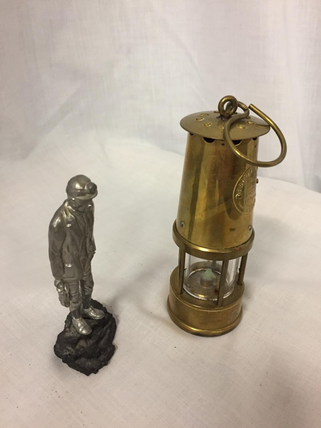 A BRASS MINATURE MINERS PROTECTION LAMP ECCLES AND A FIGURE OF A MINER - Image 3 of 3