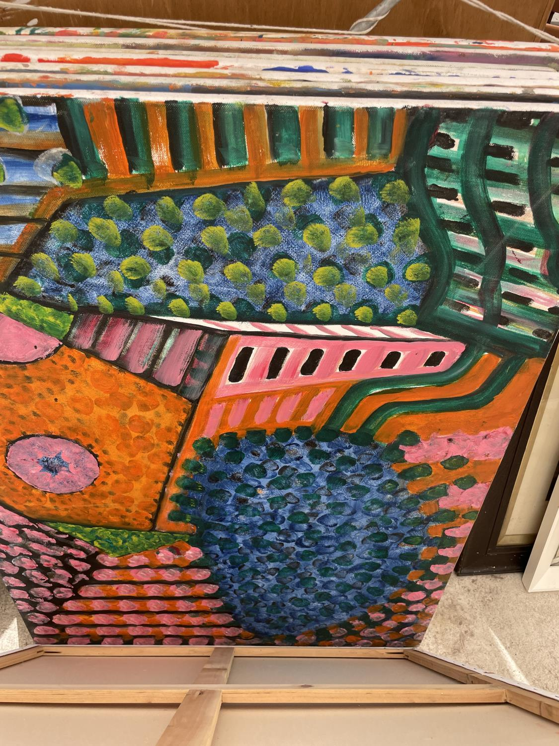 AN ASSORTMENT OF UNFRAMED PAINT ON CANVAS PICTURES - Image 7 of 14