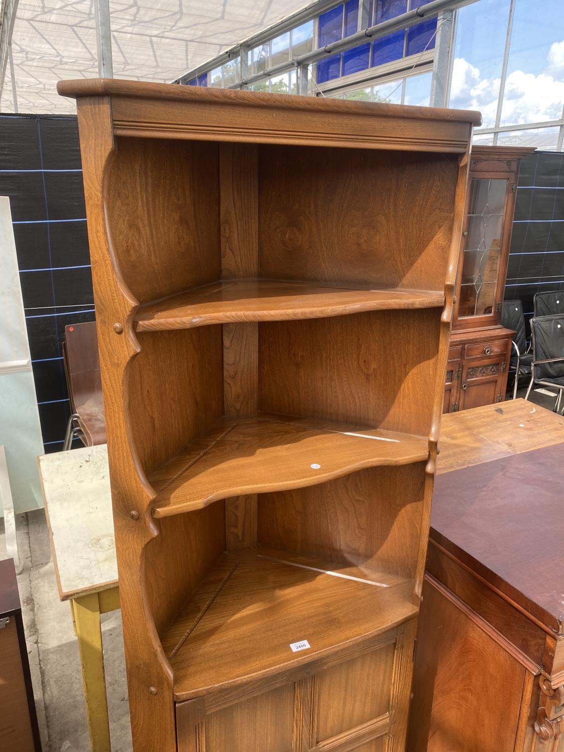 """AN ERCOL OPEN CORNER CUPBOARD WITH CUPBOARDS TO THE BASE, 27"""" WIDE - Image 2 of 5"""