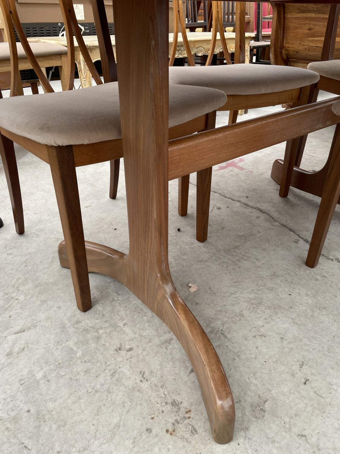 """A RETRO TEAK G-PLAN EXTENDING DINING TABLE, 64X41"""" (EXTRA LEAF 18""""), ON WHALE FIN LEGS, TOGETHER - Image 3 of 10"""
