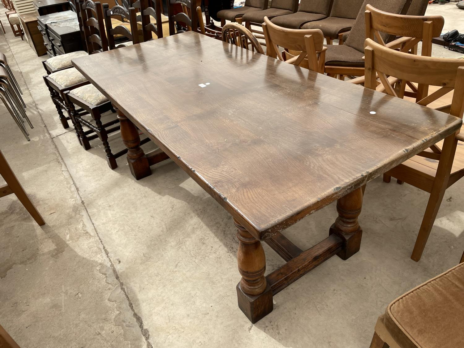 """A GEORGIAN STYLE OAK REFECTORY DINING TABLE ON TURNED LEGS, 72X32"""""""