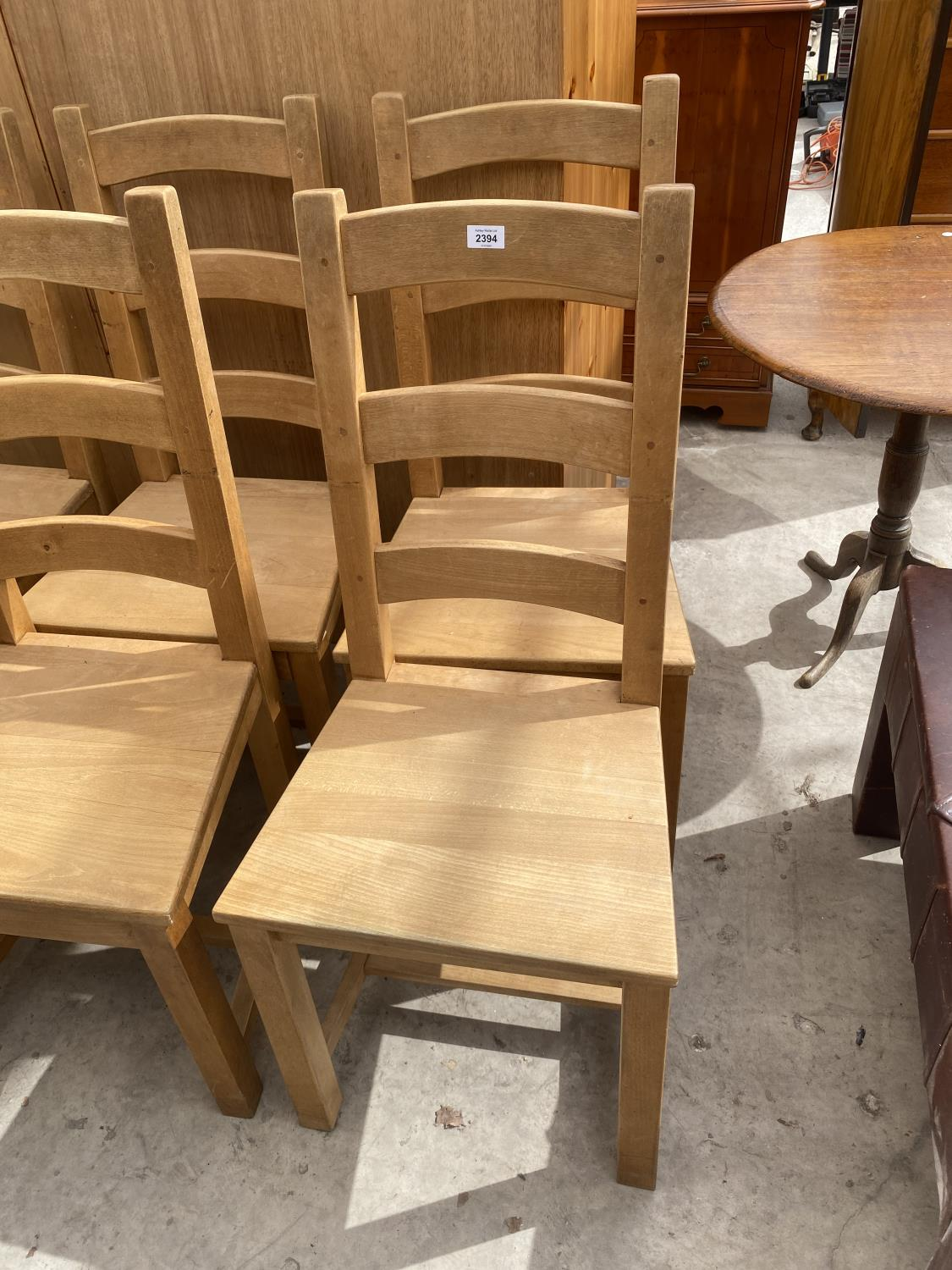 A SET OF SIX PINE LADDER-BACK DINING CHAIRS - Image 2 of 5