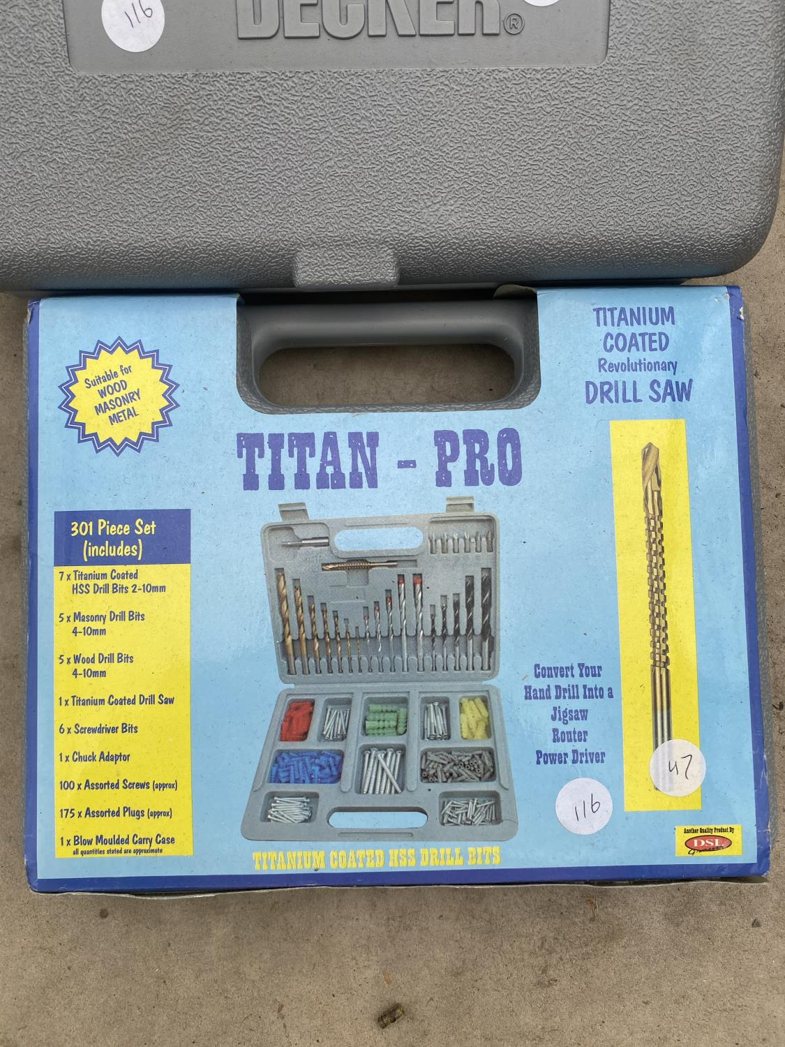 A POWER CRAFT SOCKET SET A POWER CRAFT HAMMER DRILL AND TITAN PRO DRILL BITS AND BLACK AND DECKER - Image 2 of 5