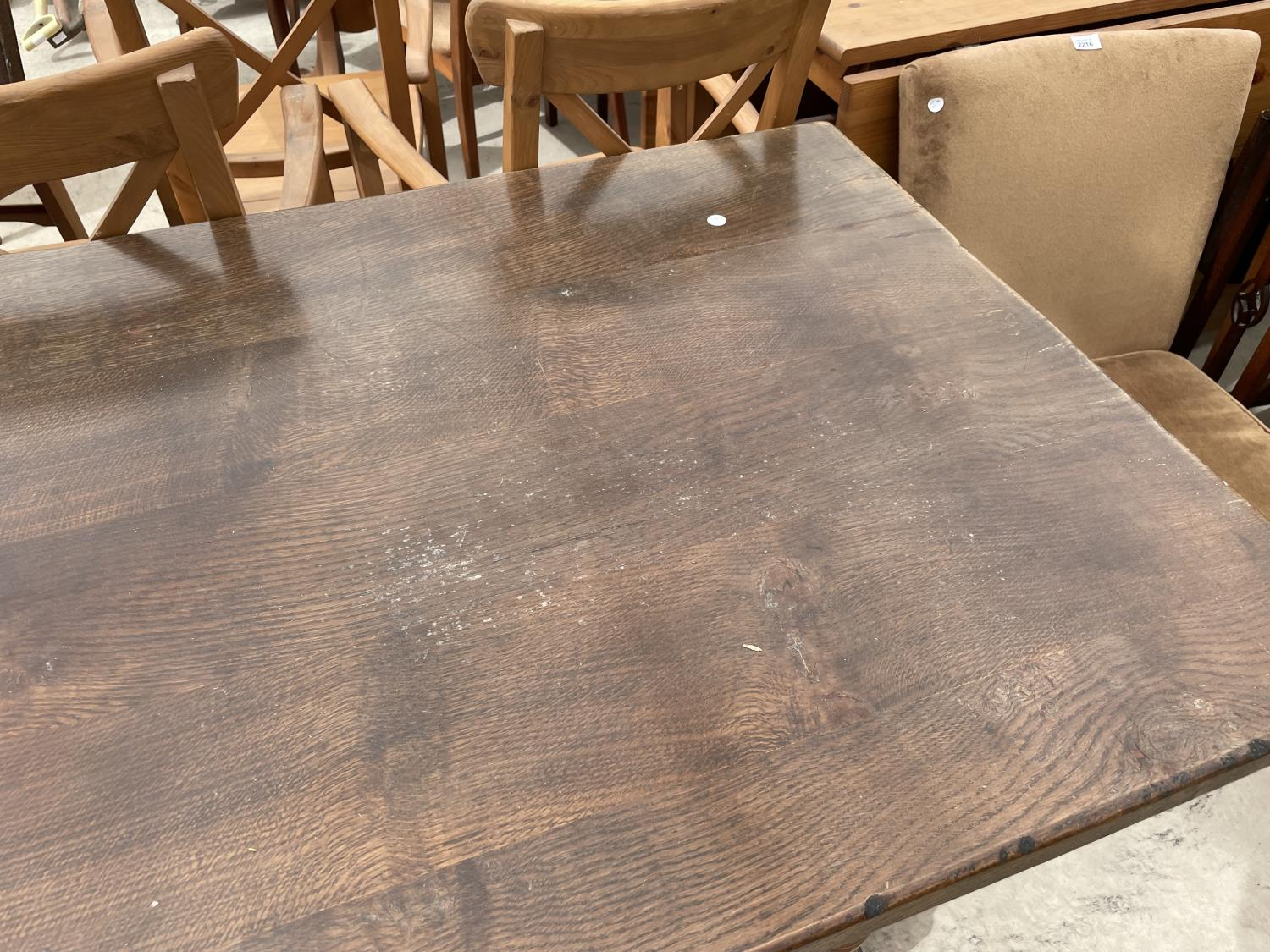 """A GEORGIAN STYLE OAK REFECTORY DINING TABLE ON TURNED LEGS, 72X32"""" - Image 3 of 4"""