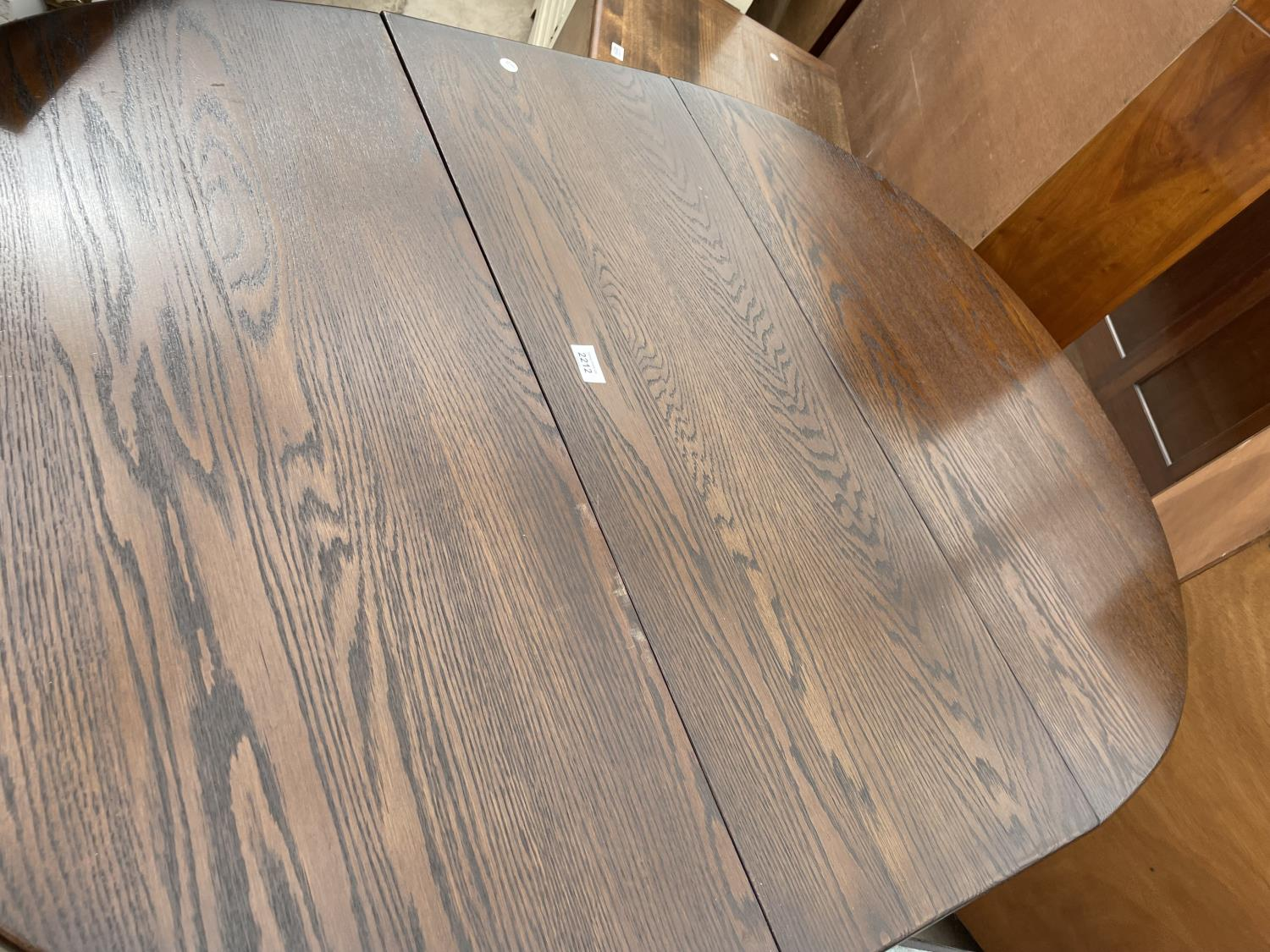 A REPRODUCTION OAK GATELEG DINING TABLE ON TURNED LEGS, BEARING LABEL EDGAR MALTBY AND SON, CHESTER, - Image 2 of 4