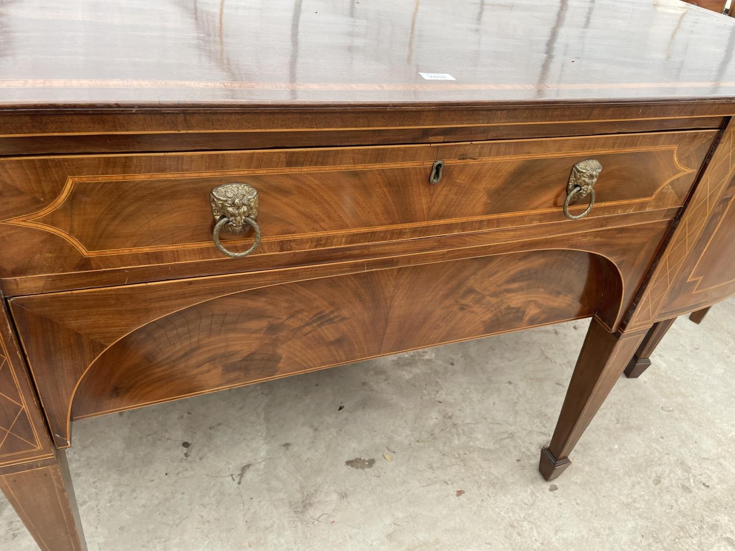"""A 19TH CENTURY MAHOGANY BOWFRONTED SIDEBOARD ON TAPERED LEGS, WITH SPADE FEET, 78"""" - Image 7 of 10"""