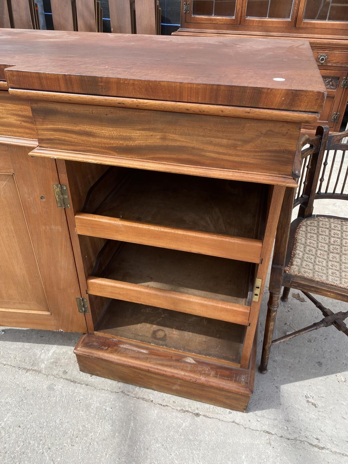 """A VICTORIAN INVERTED BREAKFRONT MAHOGANY DOUBLE PEDESTAL SIDEBOARD, 72"""" WIDE - Image 2 of 5"""