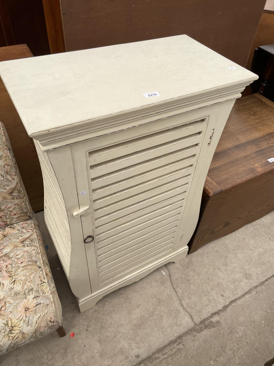 """A MODERN SHABBY CHIC CABINET WITH SLATTED PANELS ALL ROUND, 24.5"""" WIDE"""