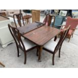 """AN EDWARDIAN WIND-OUT DINING TABLE ON CABRIOLE LEGS, 42X41"""", WITH EXTRA LEAF, 17"""", COMPLETE WITH"""