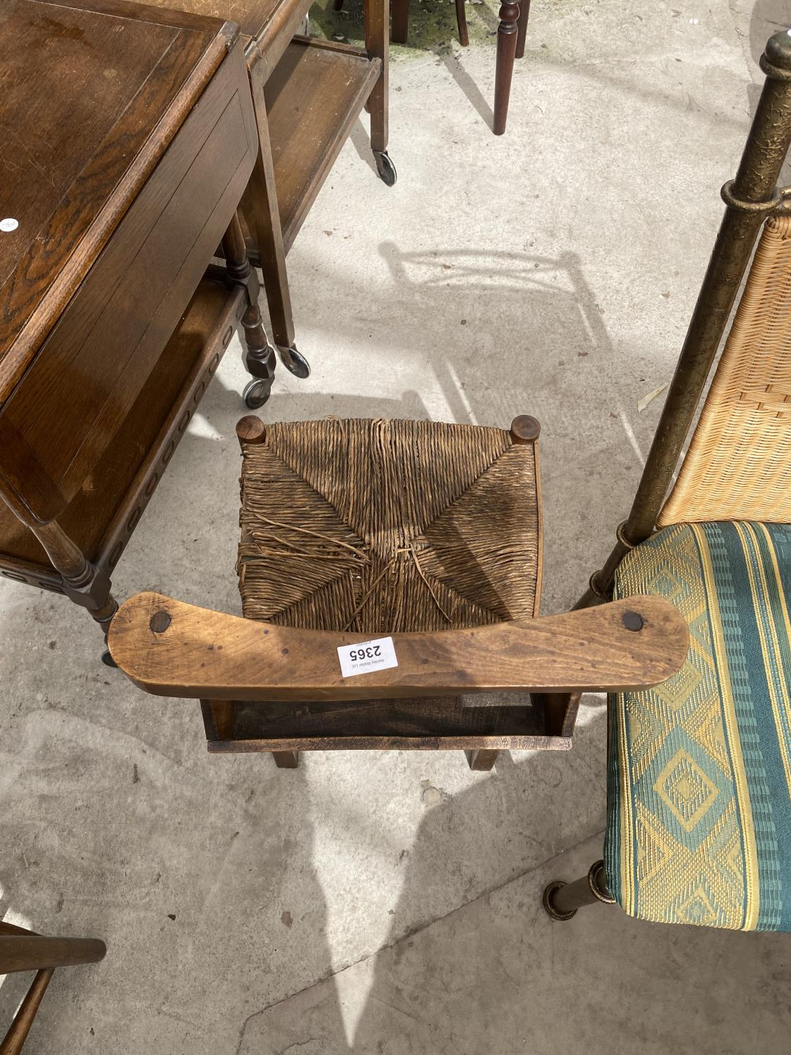 FOUR BEECH FRAMED CHAPEL CHAIRS WITH RUSH SEATS - Image 4 of 5