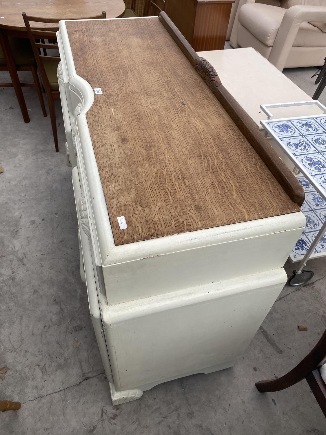 """AN EARLY 20TH CENTURY OAK SIDEBOARD WITH SHABBY CHIC PAINTING, 54"""" WIDE - Image 4 of 4"""