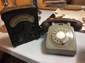 AN AVOMETER MODEL D AIR MINISTRY TEST METER TOGETHER WITH VINTAGE ROTARY TELEPHONE