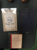THREE VINTAGE RAILWAY ITEMS TO INCLUDE A 1941 MACHINERY HANDBOOK, A HOLIDAY GUIDE AND A RULES AND