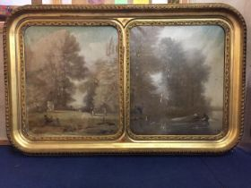 A DOUBLE GILT FRAMED OIL ON CANVAS PAINTING DEPICTING COUNTRY AND FISHING SCENES SIGNED 'ROMAZ' LATE