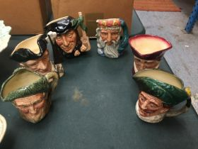 SIX ROYAL DOULTON TOBY JUGS TO INCLUDE 'OWD MAC' AND 'NEPTUNE'