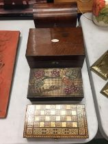 A COLLECTION OF FOUR BOXES TO INCLUDE A TWO COMPARTMENT BOX, A VINTAGE SEWING BOX WITH CONTENTS, A