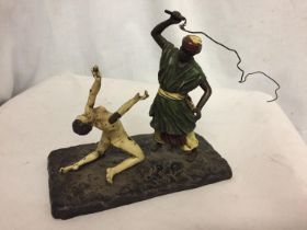 A BERGMAN STYLE COLD PAINTED BRONZE OF A NATIVE AND A WOMAN HEIGHT APPROXIMATELY 15CM