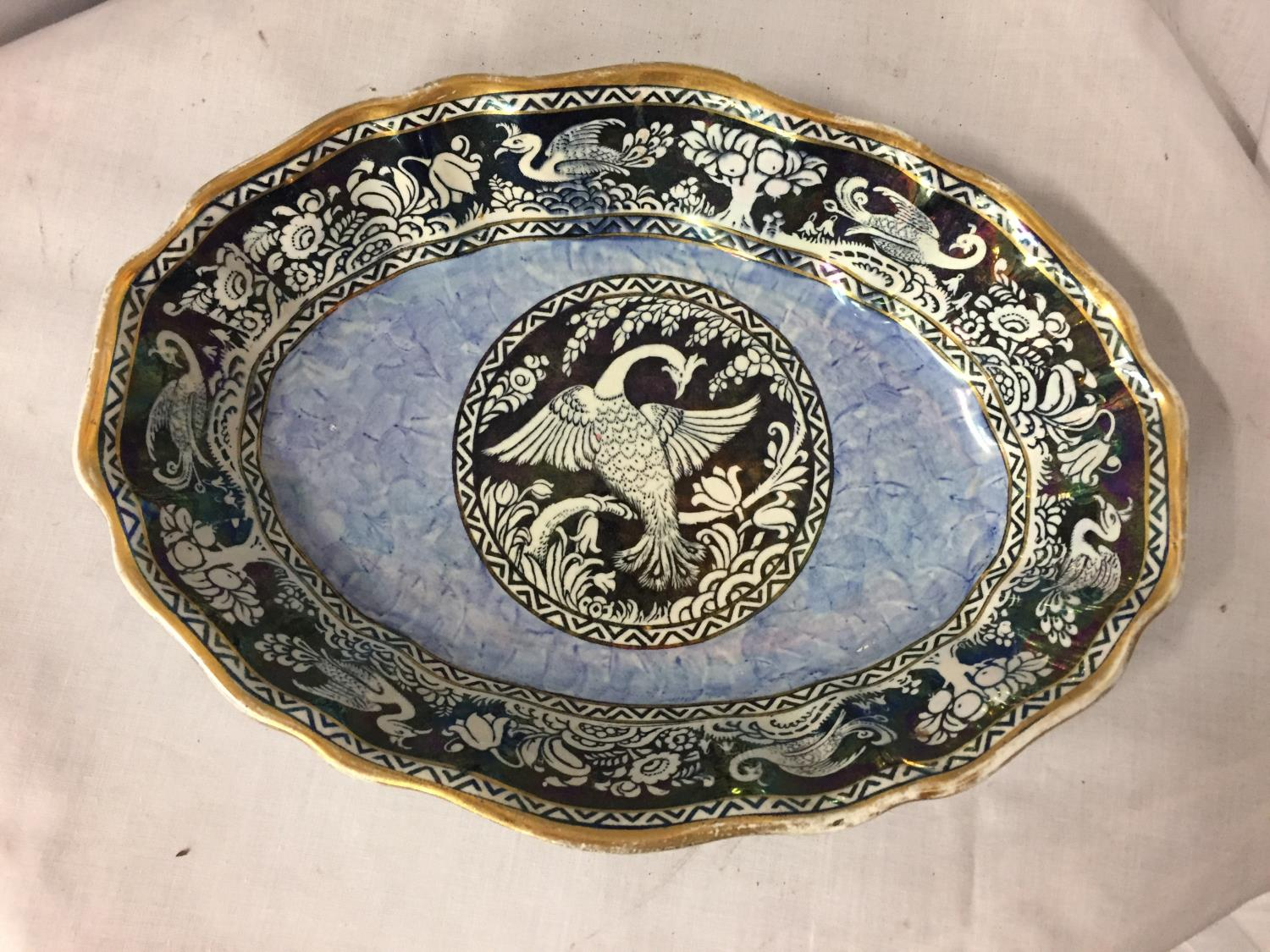 A NEWHALL 'BOUMIER WARE' BLUE AND WHITE DISH - Image 2 of 3
