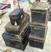 A COLLECTION OF SIX VINTAGE DEED BOXES NO VAT