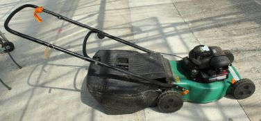 GREEN PETROL ROTARY LAWN MOWER & BOX NO VAT